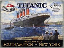TITANIC WHITE STAR LINE SOUTHAMPTON NEW YORK VINTAGE STYL POSTER METAL WALL SIGN