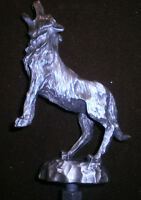 rare vintage wolf howling, figurine, collectible biker car hood ornament