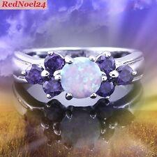 Trionfante ARDENTE Soft Blue Opal-Viola Ametista 925 STD SILVER RING taglia 7.5 - o