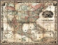 MAP ANTIQUE COLTON 1857 UNITES STATES AMERICA LARGE REPLICA POSTER PRINT PAM0836