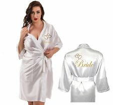 Personalised Wedding Robe Dressing Gown Satin Heart Bride Mother Child's Sizes
