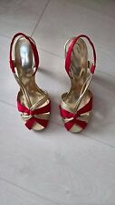 Red and Gold Ladies high heeled sandals