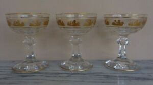 3 Val St Lambert Crystal 24K Gold VAS20 Cherub Champagne Sherbet Glasses Glass