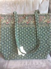 VERA BRADLEY CLASSIC GREEN (DARK GREEN) VINTAGE TOTE BAG - BRAND NEW WITH TAGS