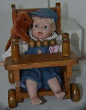 Vintage Porcelain Baby Boy Doll Bear Wood Stroller  3/4 legs 1/4 arms