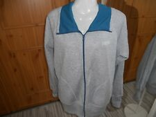 LONSDALE COTTON/POLYESTER GREY AND TEAL LEISURE CARDIGAN SIZE 16