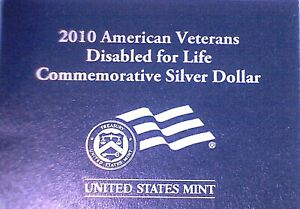 2010 American Veterans Disabled for Life Commemorative 90% Silver Proof Dollar