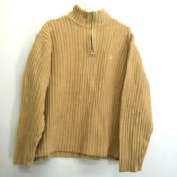 Aigle Men's XL Heavy Cotton 1/4 Zip Pullover Ribbed Knitted High Neck Sweater