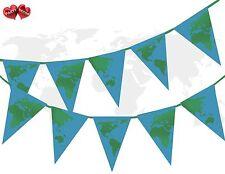 Planeta Tierra Globo continentes verde sobre Océano Azul Tema Banderas Banner Bunting 15