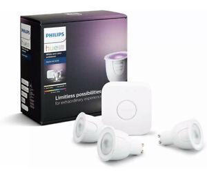 Philips Hue GU10 White and Colour Ambiance Starter Kit: Smart Bulb 3 x Pack LED