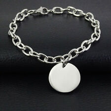 """Womens Jewelry Silver Stainless Steel High Quality Rolo Chain Charm Bracelet 8"""""""