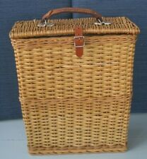 Vintage Abercrombie & Fitch English Wicker Picnic Basket Hamper w/ 2 Thermos