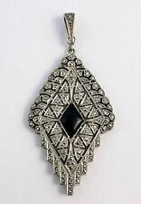 Superbe ancien pendentif argent massif onyx et marcassites epoque Art Deco