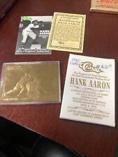 Hank Aaron 1995 Classic Henry Aaron  23kt Gold Sculptured Card!! COA Box & Case