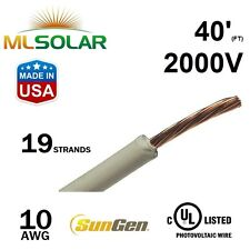40FT 10 AWG Sungen Solar PV Wire 2000V Cable UL 4703 Copper MADE IN USA