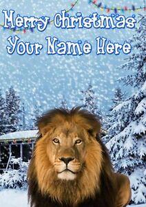 Lion Christmas Card Scene Card PIDK34 Greeting Card Personalised Mum Dad