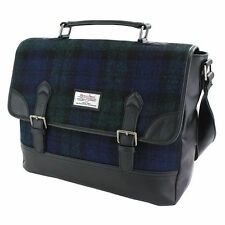 Harris Tweed Satchel Briefcase Black Watch Tartan NEW  25126