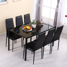 Luxurious Stunning Dining Table Desk Glass Surfaces and 6 Chairs For Dinner Room