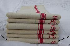 More details for 6 vintage french linen tea towels / torchons - red stripes - monogramme al
