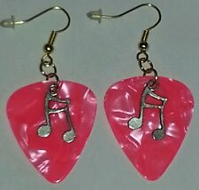 MARBLE PINK Gold Plated Music Note Dangle Plectrum Guitar Pick EARRINGS