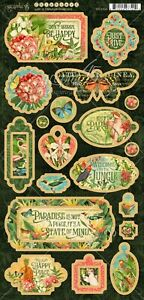 Graphic 45 - Lost in Paradise Chipboard Embellishment Tags Motif Icons