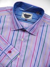 TED BAKER LONDON NWOT MENS 16.5 37 FRENCH CUFF DRESS SHIRT PURPLE MULTI STRIPE