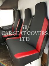 TO FIT A VW LT35 VAN, 2004, SEAT COVERS, ANTHRACITE & RED LEATHERETTE