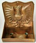 Embossed Eagle Copper Wall Hang Sconce Candle Holder Double   Candlesticks Lot