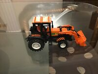 """Vintage Toy Orange Tractor with Celluloid Farmer inside. Tractor says """"AZ-1"""""""