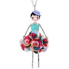 Bonsny Flower Doll Necklace Dress Handmade French Doll Pendant Fashion Jewelry