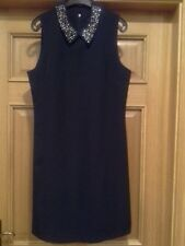 Wallis Navy Sleeveless  peter pan collarJewel Embellished Neckline Dress Size 10