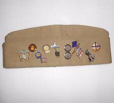 Military pins on Bernard US Navy khaki flat snap Cap some sterling silver mixed