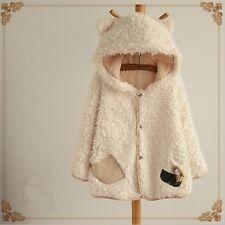 Lolita Women's Cute Cat Ear Casual Fleece Hoodie Hooded Long Coat Jacket Outwear