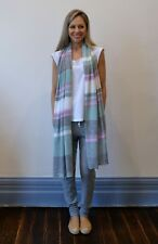 Women's Pink, Mint Green, Light Grey and Ivory Multi Striped Pure Wool Scarf