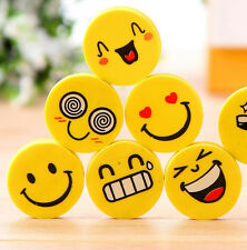 12Pcs Funny Emoji Rubber Pencil Eraser Novelty Students kids Stationery Gift Toy