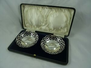 BOXED pair, sterling silver SWEET DISHES, 1921, 80gm