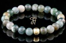 Indien Agate 925 Argent Fin Plaqué or Bracelet Bracelet Bracelet de Perles 8mm