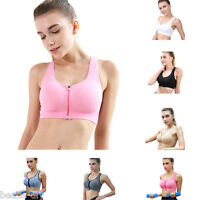 BD Women Running Sports Bra Tops Zipper Push Up Seamless Padded Gym Fitness Vest