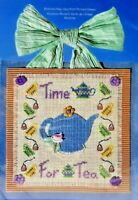 2001 NIP Janlynn Counted Cross Stitch Embroidery Kit Time For Tea 9x9 Craft 7689