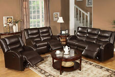 Living Room 3 Pc Motion Sofa Set Sofa Loveseat Recliner Espresso Bonded Leather