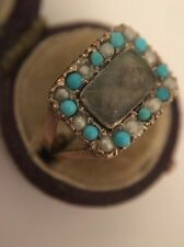 Antique Victorian Memorial PeArl Turquoise Hair Locket Front Ring Yellow Gold