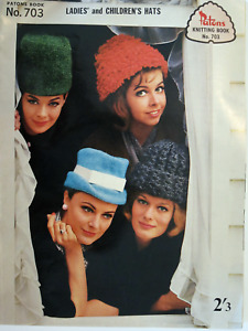 Vintage 1960s Knitting Pattern Book Patons #703 Ladies & Childrens Hats Beanies