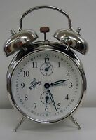 ALARM CLOCK- DOUBLE BELL  NICKEL FINISHED -MECHANICAL -MADE IN SERBIA