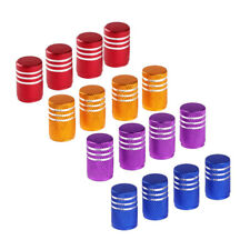 4x Anodized Aluminum Round Wheel Tire Valve Stem Caps Dust Cover For Car Bike