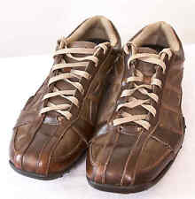 Skechers Men's 13 Brown Leather Bicycle Toe Fashion Sneakers Shoes 61751