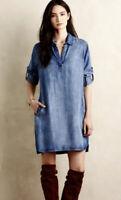 Anthropologie Cloth & Stone Small Adalie Long Sleeve Tencel Chambray Shirt Dress