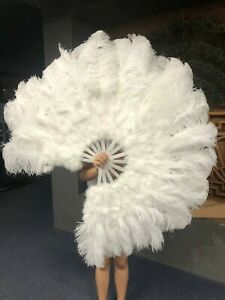 "white 21"" x 38"" Marabou Ostrich Feather fan with Travel Bag"