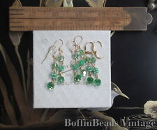 Vintage retro GREEN EARRINGS - dice beads sparkly crystal Aurora Borealis GP