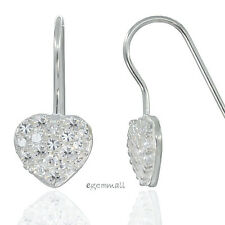 Sterling Silver Heart French Hook Earrings with Clear CZ #53153