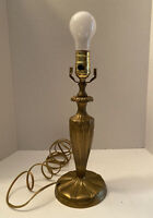 Vintage Brass Accent Table lamp Candlestick Hollywood Regency 3 way